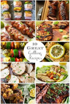 Vertical Image Collage of 10 grilling recipes with text.