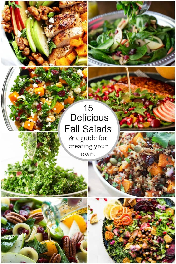 Photo Collage of 15 Delcious Fall Salads with circle graphic in the center of the collage.