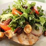 Grilled Chicken Paillards with Arugula Salad, Crispy Potatoes and Rosemary Pecans