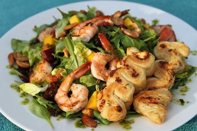 Pan Seared Shrimp Salad with Beetroot, Mango, Candied Cashews and Honey Sweet Herb Dressing