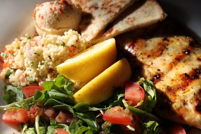 Couscous Salad with Hummus and Pita