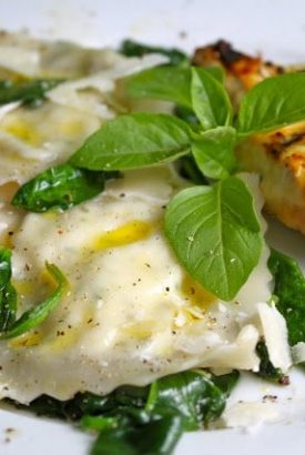 Ricotta & Herb Ravioli with Spinach and Pine Nuts