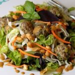 Vietnamese Noodle and Meatball Salad with Peanut-Ginger Vinaigrette