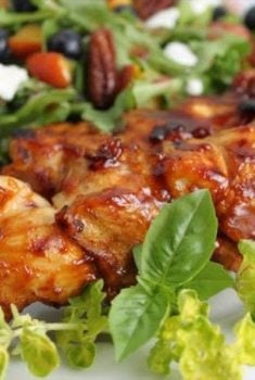 Grilled Chicken Kabobs - definitely one of our favorite grilled chicken recipes EVER! There is a secret ingredient included that you wouldn't expect and it makes the chicken so moist and full of flavor that you'd never believe you're eating breast meat which always tends to dry out on the grill!