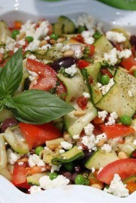 Ribbons of Zucchini Mediterranean Salad