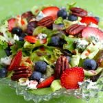 Tricia's Delicious Summer-Berry Salad with Butter Lettuce, Blue Cheese, Raspberry Vinaigrette and Slow Roasted Pecans