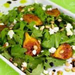 Summer Salad with Brown Sugar-Seared Figs, Goat Cheese, Balsamic Reduction and Basil Oil