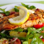 Nicoise Salad with Cedar-Plank Grilled Salmon and Kalamata Vinaigrette