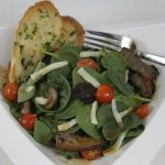 Pan-Seared Portobello & Spinach Salad with Fresh Basil and Peanut-Ginger Dressing