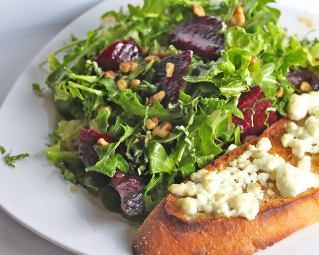 Arugula Salad with Roasted Beets, Caramelized Walnuts and Goat Cheese Bruschetta