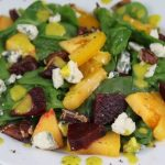 Golden Salad with Beetroot, Spinach, Gorgonzola and Mango/Cilantro Vinaigrette
