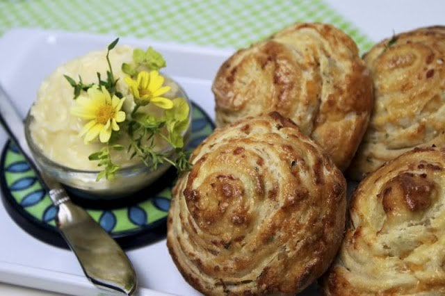 Cheddar-Thyme Swirls with Honey Butter