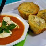 Roasted Tomato-Basil Soup with Melting Bocconcini