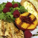 Tequila Citrus Chicken with Grilled Peach & Raspberry Salad