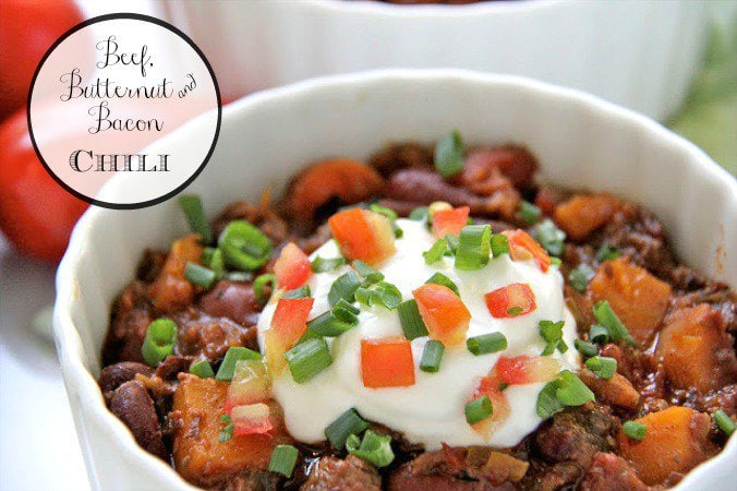 Beef, Butternut and Bacon Chili -  the perfect fall/winter comfort food dish to warm the hearts (and stomachs) of all your diners!