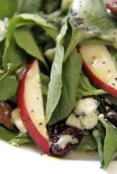 Arugula Salad with Apples, Maple Sea Salt Pecans and Dijon/Maple Vinaigrette
