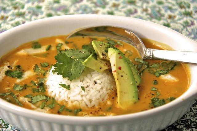 Curried Coconut Pumpkin Soup with Chicken and Jasmine Rice - a delicious, low fat, healthy soup that shouts with vibrant fresh flavor.