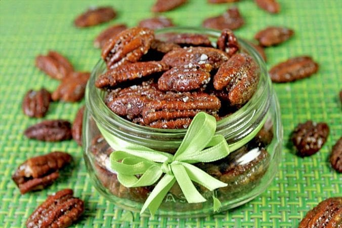 Maple Sea Salt Pecans are perfect for dessert topping, salad topping, or just plain popping in your mouth any old time! Watch out, they disappear fast!