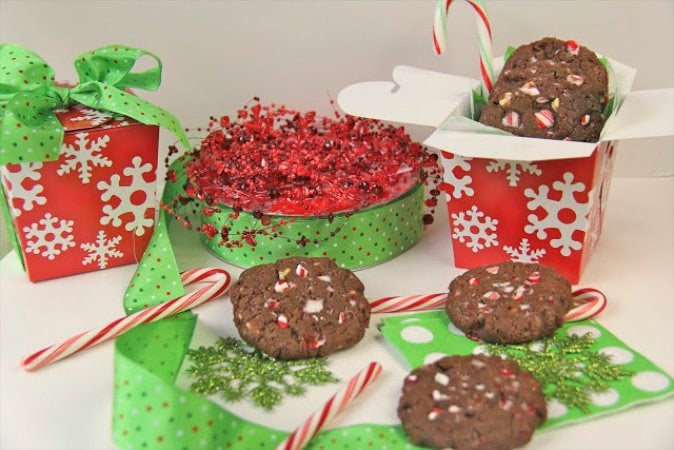 Peppermint Bark Chocolate Crackle Cookies - delightful, deep chocolateity flavored Christmas cookies. They're perfect for that holiday Christmas cookie exchange!