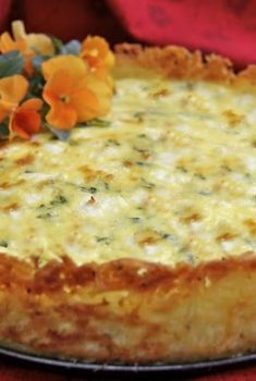 Goat Cheese, Fontina & Arugula Quiche w/ Crispy Hash Brown Crust
