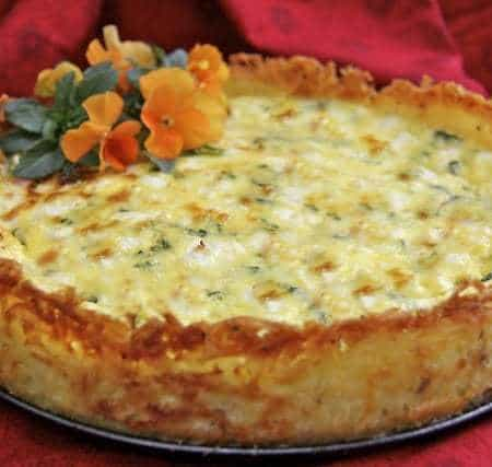 Goat Cheese, Fontina & Arugula Quiche w/ Crispy Hash Brown Crust