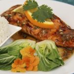 Sugar-Seared Salmon w/ Sweet & Spicy Orange-Coconut Sauce