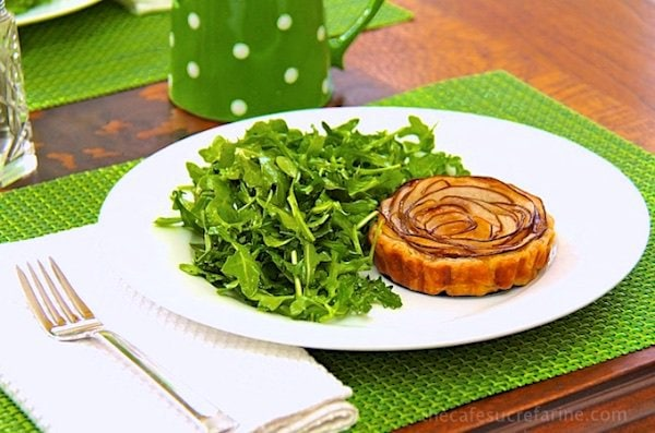 Fontina and Pear Tart with Arugula Salad - I'll take your next get-together up a notch ... or two! Use it for fun lunches to fancy dinners. Made with Fontina cheese, Anjou pears and puff pastry!
