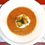 Roasted Tomato & Potato Soup w/ Herbes de Provence & Buttery Rosemary Croutons