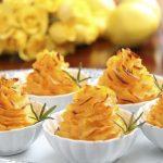Two Potato Swirls with Goat Cheese and Sweet Garlic