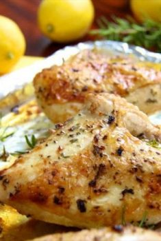 Who needs rotisserie chicken? These Roasted Chicken Breasts with Lemon and Rosemary are so easy - I use them for salads, sandwiches, soups, pizza.....