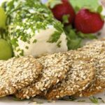 Irish Sesame, Oat and Parmesan Crackers w/ Herbed Goat Cheese