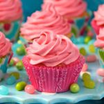 Vanilla Bean Cupcakes with Strawberry Icing