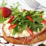 Three Cheese & Prosciutto Tartine w/ Arugula-Strawberry Salad