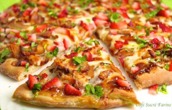 Strawberry Balsamic Pizza - with chicken, Applewood bacon and sweet onions is a little out of the ordinary, but in a class by itself. You've got to try it!