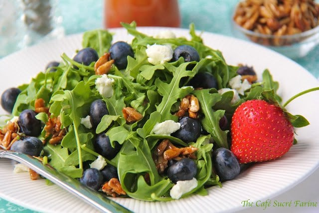 Arugula & Blueberry Salad w/ Goat Cheese, Honeyed Sunflower Seeds ...