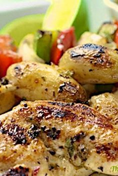 Grilled Chicken, Pepper and Potato Kabobs with Honey Cumin Glaze - tender, juicy, golden grilled chicken, caramelized peppers, onions and creamy potatoes.