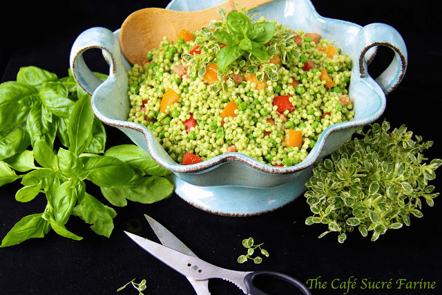 Israeli Couscous Salad with Tomatoes and Herb Pesto - this salad is loaded with great, healthy ingredients; along with the fun Israeli Couscous (also called pearl pasta).