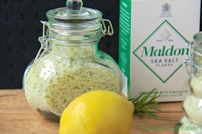Lemon Rosemary Sea Salt - It adds delicious flavor to anything it touches! It's simple to make and makes a lovely gift too!