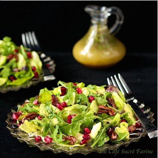 This version of Avocado and Pomegranate salad features a delicious honey-citrus vinaigrette dressing you're going to just love - sweet/spicy pecans too!