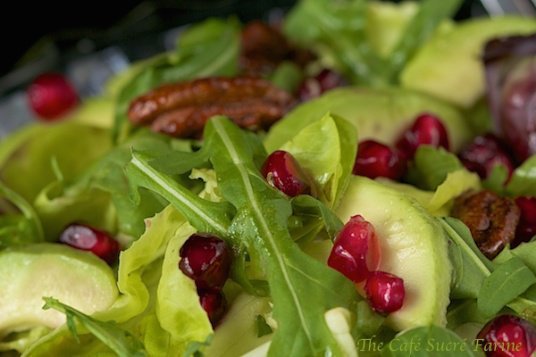Avocado and Pomegranate Salad - featuring a delicious honey-citrus vinaigrette dressing you're going to just love - sweet/spicy pecans too!