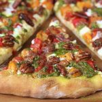 Sweet Potato and Pesto Pizza with Rosemary Braised Bacon