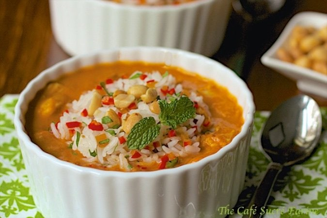 African Peanut Soup with Roasted Chicken - a unique, full-of-flavor comfort soup. It has lots of veggies, herbs and spices; along with fresh ginger.