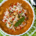 African Peanut Soup with Roasted Chicken is a unique, full-of-flavor comfort soup. It has lots of veggies, herbs and spices; along with fresh ginger.