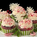 Chocolate Cupcakes with Vanilla Buttercream and Peppermint-Cream Cheese Filling