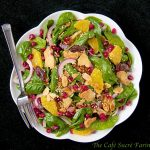 Baby Spinach Salad w/ Dates, Almonds, Oranges & Pomegranate