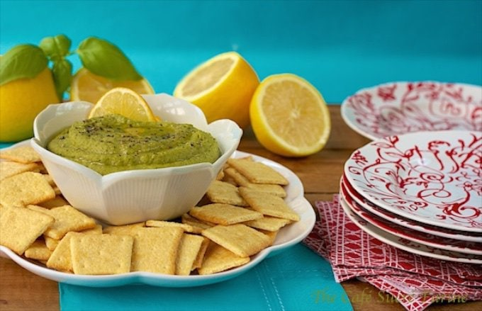 Sweet Pea Hummus with Lemon and Herb - the perfect appetizer dip. A vibrant burst of fresh herb flavor from Italian parsley, basil and cilantro.