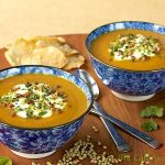 Roasted Carrot & Coriander Soup w/ Toasted Pine Nut & Fresh Herb Gremolata
