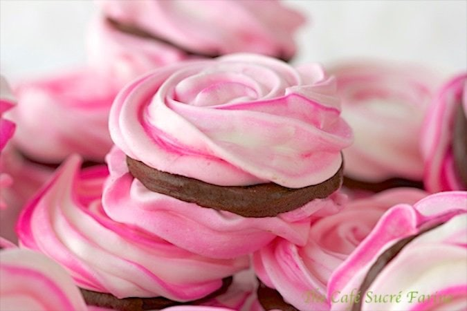 French Meringues with Strawberry Ganache Filling are the perfect sweet treat for your sweetheart; any time of the year, not just Valentine's Day.