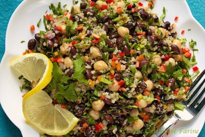 Thinking healthy these days? This Black Bean and Quinoa Salad with Lemon-Cumin Vinaigrette needs to at the top of your list. Loads of flavor + much more!