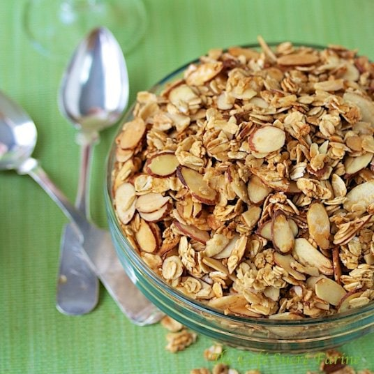 Maple-Vanilla Toasted Oats and Almonds! Healthy, eminently snackable and super versatile. Use them in everything. Oh my! You're going to love these!